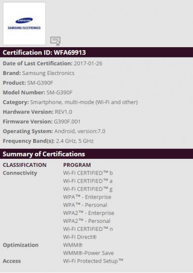 certificazione wifi galaxy xcover 31
